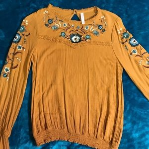 Mustard Embroidered Bell-sleeve Blouse